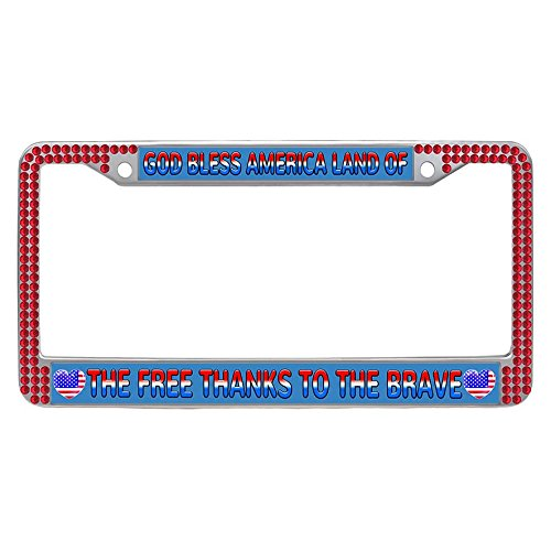 Hensonata Bling Bling red rhinestones License Plate Frame, hippie GOD BLESS AMERICA LAND OF THE FREE THANKS TO THE BRAVE Bling crystal Waterproof Car Plate with Crystal Bolts Washer Caps - First Braves Cap