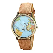 Unisex Retro Bronze Case Global Travel By Plane World Map PU Leather Band Quartz Watch