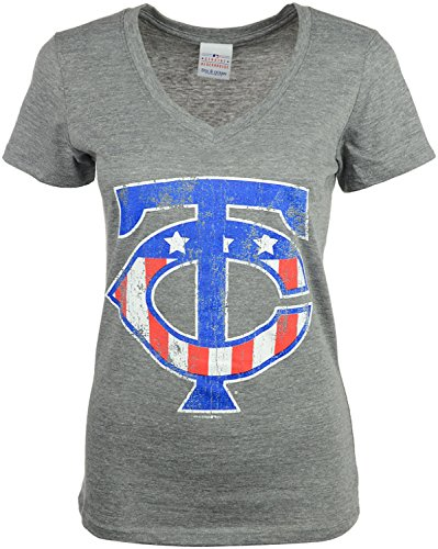 5th & Ocean Minnesota Twins Women's Stars & Stripes Logo Mid V-Neck MLB T-Shirt (Medium, Heather (5th And Ocean Womens Shirt)