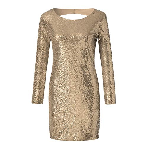 Women's Fancy Glam Sequin Sexy Backless Long Sleeve O-Neck Bling Party Club Slim Wrap Mini Dress(Champagne,M -