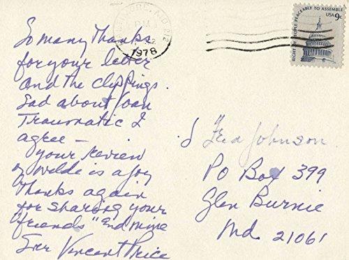 Vincent Price – Autograph Letter Signed 04/01/1978