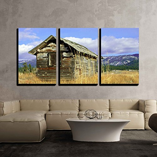 (wall26 - 3 Piece Canvas Wall Art - Deserted Cabin: an Old Wooden Cabin, Falling to Ruin, Stands on a Grassy Hillside. - Modern Home Decor Stretched and Framed Ready)