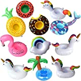 11 Pack Inflatable Drink Holders Drink Floats Inflatable Cup Coasters for Summer Pool Party and Kids Fun Bath Toys (Mermaid Flamingo Pineapple Unicorns Cloud Doughnut Watermelon Palm Trees)