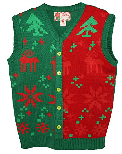 Blue Star Clothing Unisex Ugly Christmas Holiday Pullover V-Neck Knit Vest Sweater Fair Isle -