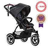 phil&teds Sport All Terrain Inline Stroller with Double Kit, Black - Auto Stop Safety Brake - All Terrain Air Tires - Adapts to Take One or Two Children - Travel System Ready with One or Two Carseats