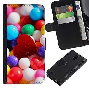 Planetar® Modelo colorido cuero carpeta tirón caso cubierta piel Holster Funda protección Para SAMSUNG Galaxy S4 IV / i9500 / SGH-i337 ( Candy Heart )