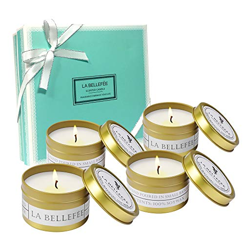 (LA BELLEFÉE Soy Wax Scented Candles, Travel Tin Candle Gift Set for Aromatherapy, Festival - Lemongrass Bergamot, Sea Salt Sage, French Lavender Vanilla, Mediterranean Amber - 4 Pack)