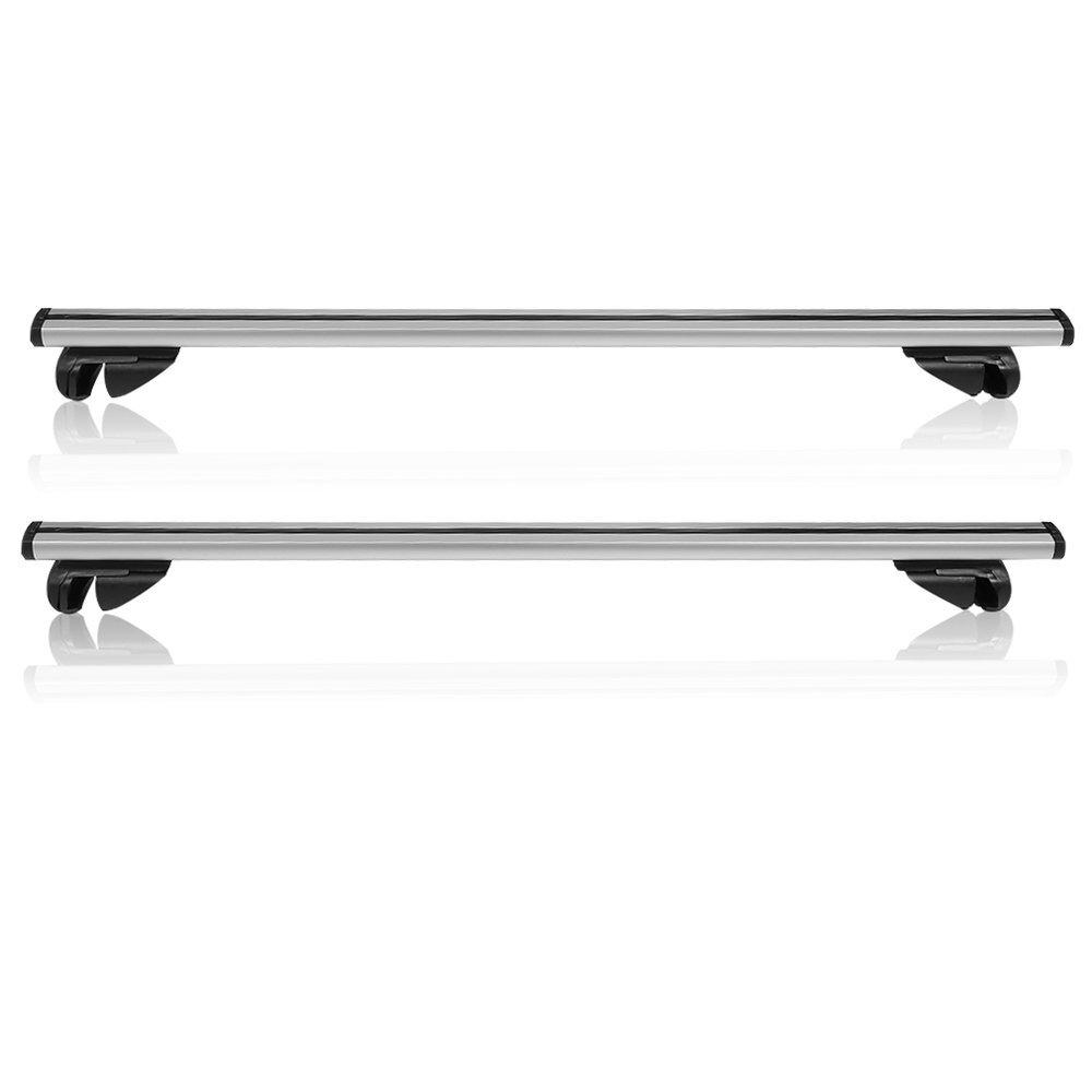 2x Barres de toit en aluminium Barres 100kg universel L124verrouillable–00163toit Porte-bagages