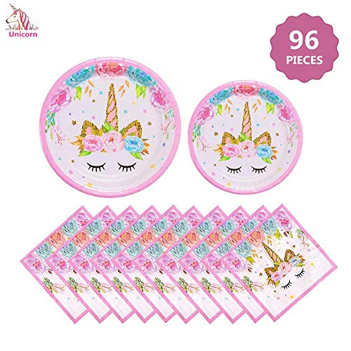 Party Supplies Set - Unicorn Plates and Napkins | Magical Unicorn Birthday Party Decorations for Girls and Baby Shower - Serves 32-96 Pcs