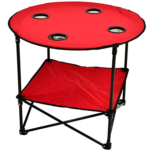 Picnic at Ascot 548-R Canvas Travel Folding Table, Red