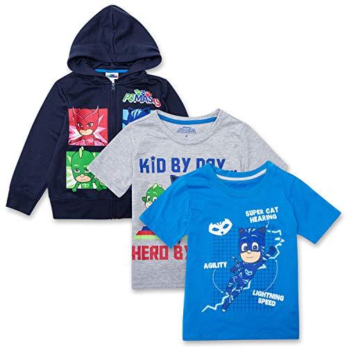 PJ Masks Hoodie Combo Set - 1 Hoodie & 2 T-Shirts Featuring Catboy, Gekko & Owlette Combo Set (Navy/Blue/Grey, -
