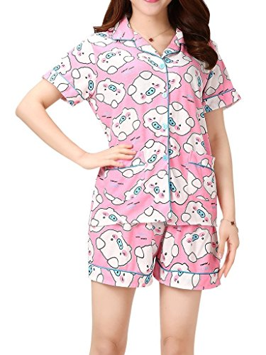 VENTELAN Women's Lovely Pigs Printed Sleepwear Lapel Cardigan Shorts Pajama Sets,Pink,Small