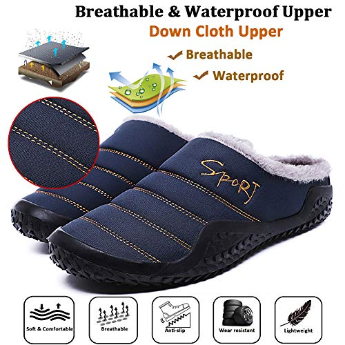 Indoor House C Blue Navy Lined Fur Fully on Winter Mens Slip Eagsouni Slippers Shoes Snow Outdoor Womens Slippers Ux7TEEpq