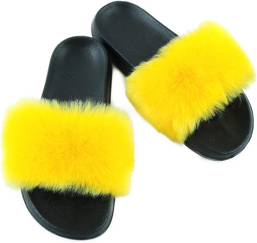 Hiser Women Fluffy Faux Fur Slipper