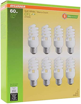 Sylvania 13w Cfl T2 Spiral Light Bulb 60w Equivalent 850 Lumens 2700k Soft White Non Dimmable 8 Pack Compact Fluorescent Bulbs Amazon Canada