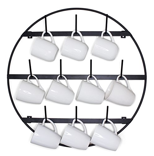 Claimed Corner Round 3-Tier Wall Mounted Mug Rack - Metal St
