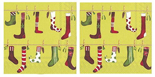 Holiday Patterned Disposable Luncheon Napkins (2 Pack)- Crazy Christmas Stockings