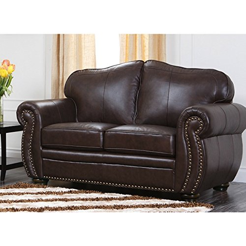 Contemporary Custom Brown Wood Leather Loveseat