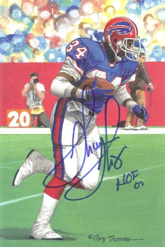 Thurman Thomas Autographed Buffalo Bills Goal Line Art Card