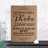 Rustic Photo Booth Table Sign for Weddings and Party Props (L) (Brown)