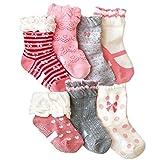 Toptim Baby Girl's Socks Princess Non-skid Socks for Infants and Toddlers Value Pack
