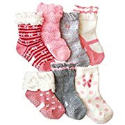 Toptim Baby Girl's Socks Princess Non-skid Socks for Infants and Toddlers Value Pack (7 Pairs News) Assorted, One Size