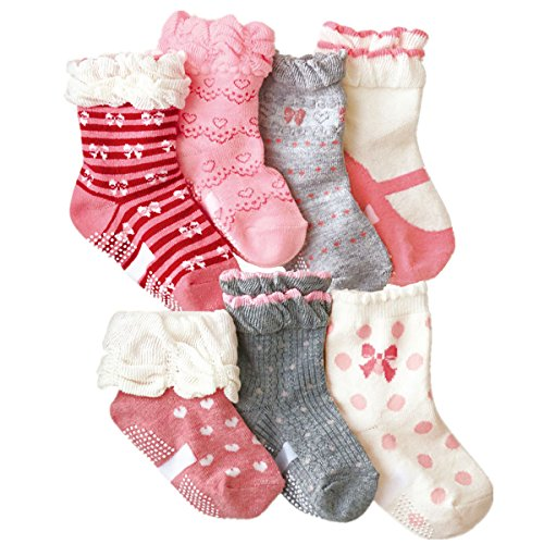 Toptim Baby Girl's Socks Princess Non-skid Socks for Infants and Toddlers Value Pack (7 Pairs News)