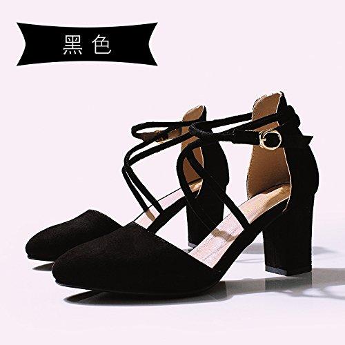 Jqdyl High Heels 018 neue Wort Schnalle Baotou Sandalen Sommer dick mit spitzen Schuuml;ler Mauml;dchen  39|black