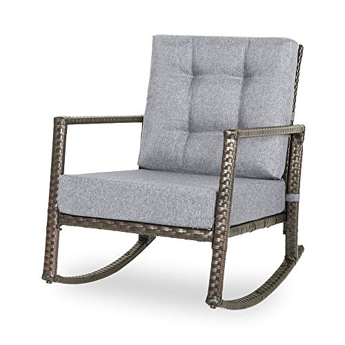 Romatlink Patio Rattan Wicker Rocking Rocker Armchair with Cotton Fabric Double Cushion, Sofa Relaxing Lounge Chair Suitable for Outdoor Leisure Chat (Porch,Pool,Garden), Indoor Rest or Decor, Grey