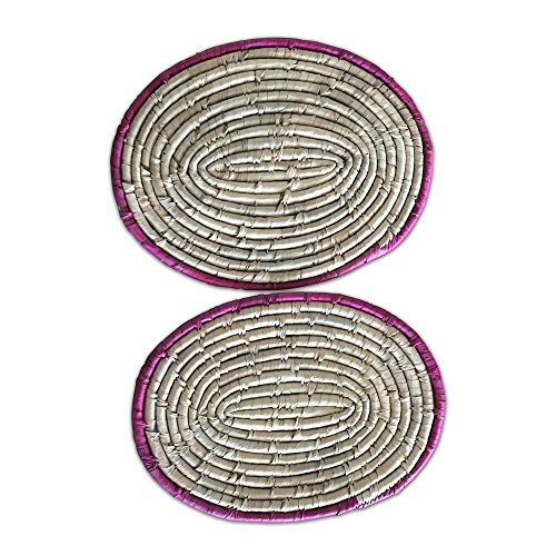 Whole House Worlds The Key West Chunky Oval Placemats, Zippy Pink Borders, Set of 2, Artisan Crafted, Coiled and Woven, Seagrass, Responsibly Harvested, Over 1 Ft Long (18 Inch), 3/4 -
