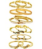 Jewels Galaxy Combo Of Victoria Bangle Set, Pearls Bangle Set, Trendy Gold Plated And Coinage Bangle Set For Women - Pack Of 12