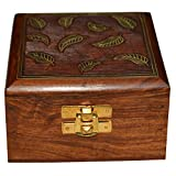 DronaIndia Gift Jewelry Box Square Shape Wood Carving with Brass Inlay from India