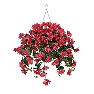 House of Silk Flowers Artificial Watermelon Bougainvillea in Square Hanging Basket 73