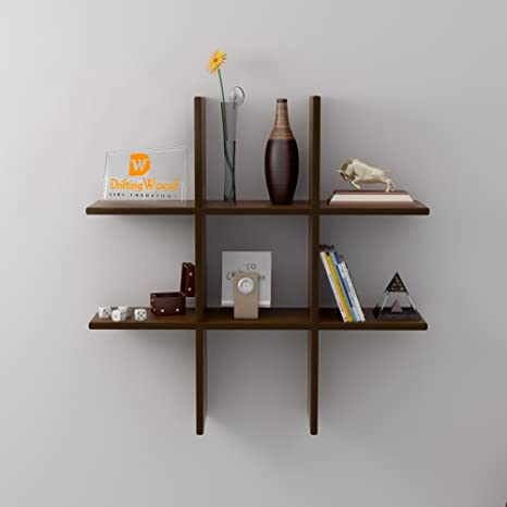 Driftingwood Plus Shape Storage Wall Rack Shelves   Brown Wall Shelves