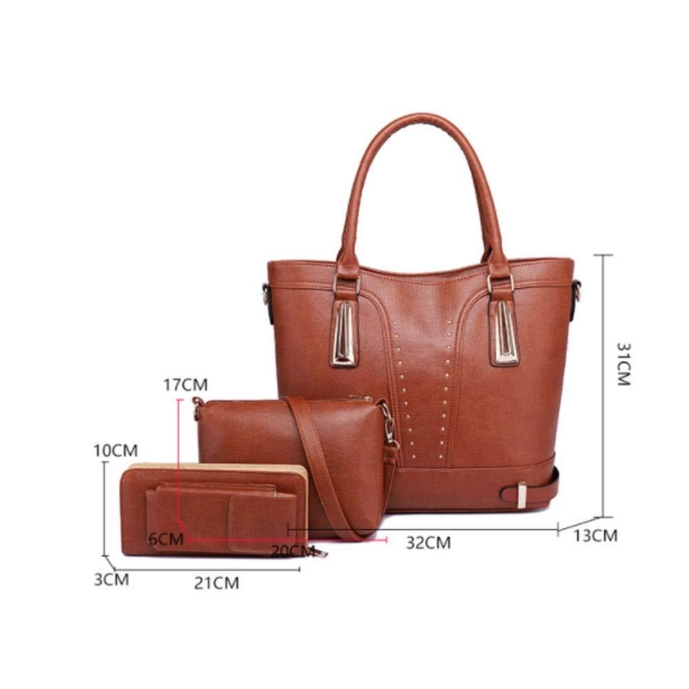 Kanqingqing Tote Bag Set Damen PU Leder Schultertasche Totes Handtaschen mit passender Geldbörse 3 Stück Set für Frauen (Color : Pink) Brown