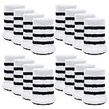 Chair Socks, Outgeek 16 Pcs Anti-Skid Wool Knitted Chair Leg Floor Protector Thick Bottom Furniture Leg Covers (White Stripe)