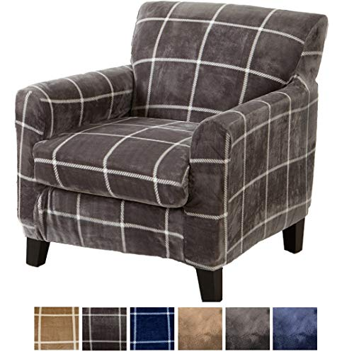 Great Bay Home 2 Piece Modern Velvet Plush Strapless Slipcover. Stretch Furniture Cover. Sorrento Collection (Chair, Frost Grey)