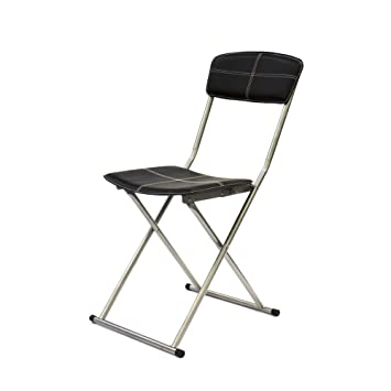 THE HOME DECO FACTORY - Silla Plegable Metal/PU, Negro, 40 ...