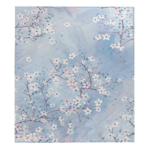 InterestPrint The Bright Blue Watercolor Cherry Blossom is Blooming Comforter Thin Quilt Lightweight Comforter Twin