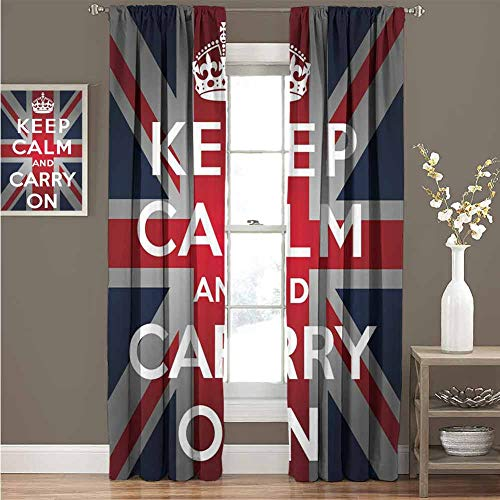Union Jack Solid Grommet Thermal Blackout Curtains Keep Calm and Cary On Quote Crown Figure United Kingdom Britain Flag Room Darkening Curtain for Bedroom W120 x L72 Inch Navy Blue Red White
