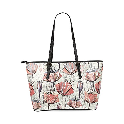 Tulip Purse - InterestPrint Colorful Tulips Women's Leather Tote Shoulder Bags Handbags