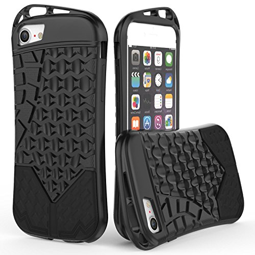 (CoverON Trekker Series Fit iPhone 8 TPU Case, iPhone 7 TPU Case, Premium Sporty TPU Phone Cover with Hard Armor Plate and Clip Openings for Apple iPhone 8 / 7 - Black)