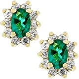 Covet Emerald Flower Stud Earrings