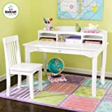 Desk Set with Hutch and Chair,White Color,Children Set Desk with a Drawer, Hutch and Chair, Made of Solid Wood,Home Furniture, Children's Room Study Set in White, 5 Cubby Holes Storage , BONUS e-book