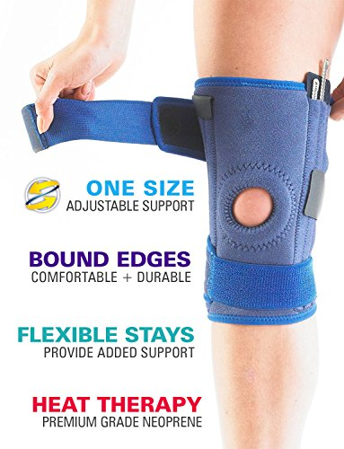 Neo G Knee Brace, Stabilized Open Patella - Support For Arthritis, Joint Pain, Meniscus Tear, ACL, Running, Basketball, Skiing – Adjustable Compression – Class 1 Medical Device – One Size – Blue by Neo-G (Image #1)