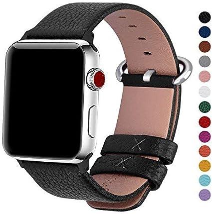 Fullmosa Correa Compatible Apple Watch 44mm 42mm 40mm 38mm, YAN 15 Colores Correa Cuero Pulsera para iWatch Series 5 4 3 2 1, Negro 38mm 40mm