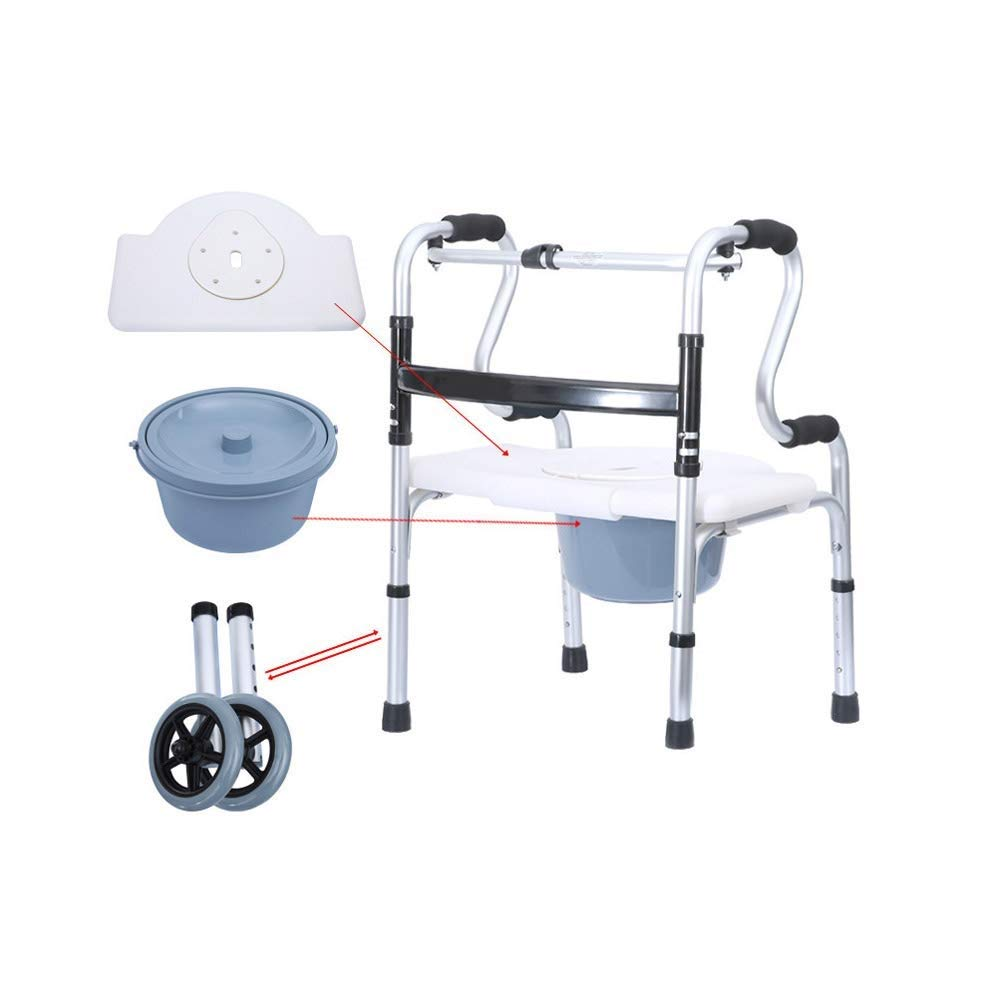 YFQ Ultra-Narrow Walking Frame Old Man Roller Walker Foldable Rehabilitation Auxiliary Walker with Locking Brake Cushion Seat Height Adjustable Walking Auxiliary Equipment (Color : F)
