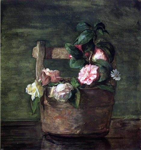 John La Farge Camellias and Roses in Japanese Vase of Earthenware with Crackle - 20.05