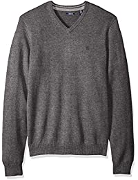 Men's Long Sleeve Soft Fine Gauge Solid V-Neck Sweater