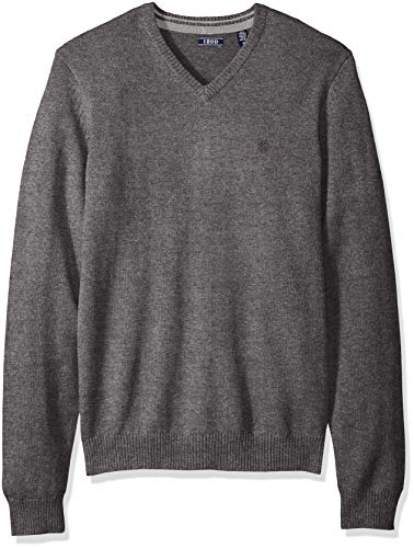 Wool Knit Acrylic (IZOD Men's Long Sleeve Soft Fine Gauge Solid V-Neck Sweater, New Carbon Heather XX-Large)